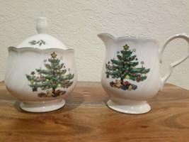 Nikko Japan ~ Happy Holidays Christmas Tree~ Sugar Bowl w/Lid and Creamer Set - $24.70