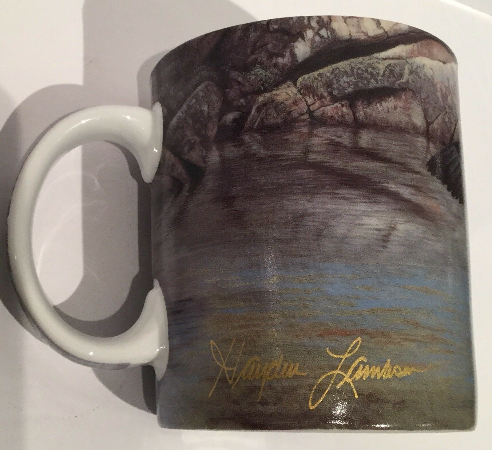 Mallard Coffee Mug Cup HONEYMOON COVE 2005 Lambson Wonderland Graphics Rare EUC