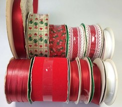 12 Vintage Christmas Craft Ribbon Velvet Satin Curling Red White Green G... - $9.89