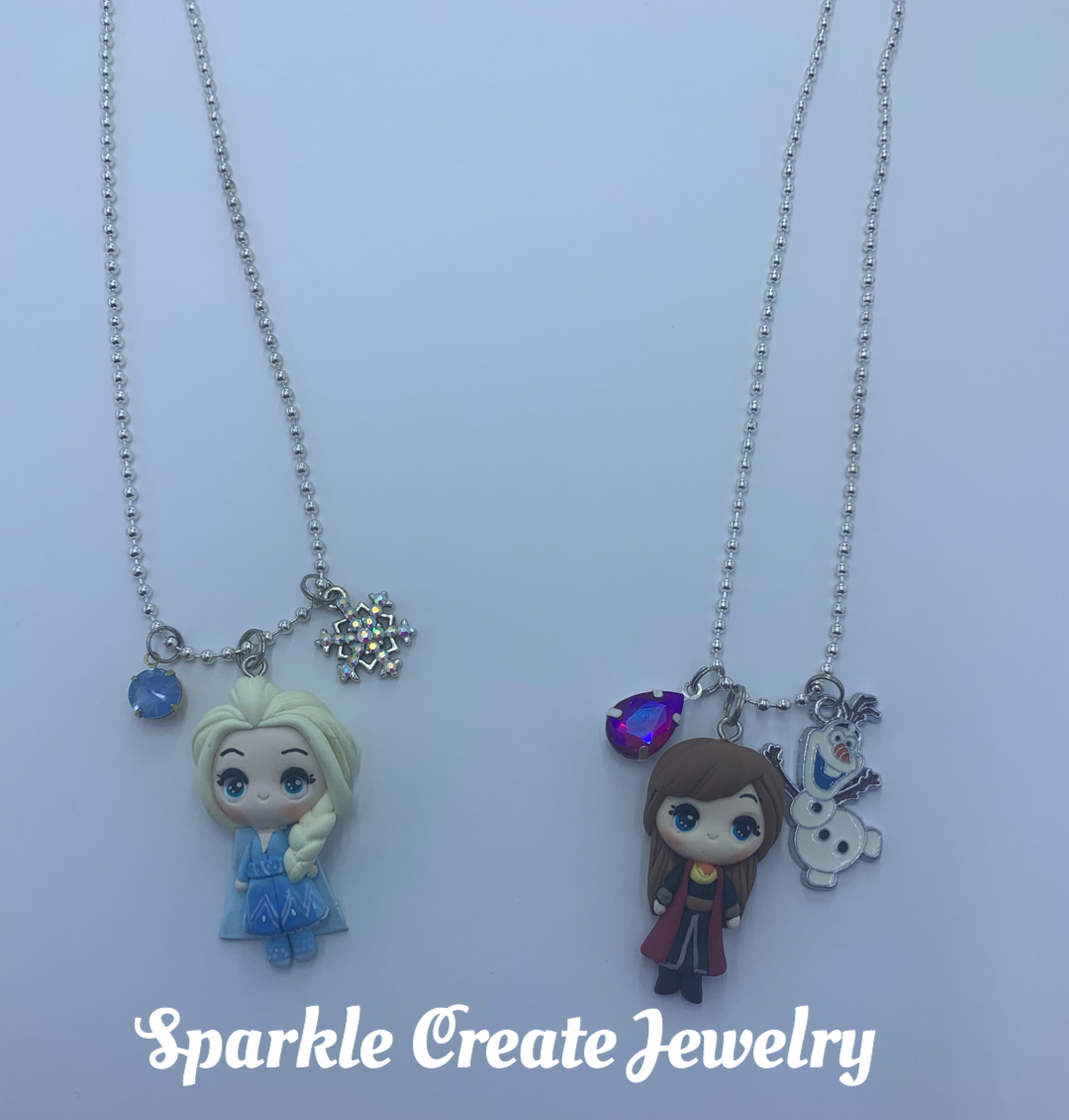 Elsa and Anna Clay Charm Necklace