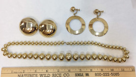 Napier Screw Back Clip On Earrings & Necklace Gold Color Metal Lot 3 Vin... - $14.10