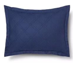 Threshold Blue Quilted Pillow Sham Linen Cotton Blend New - $380,36 MXN