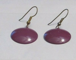 Vintage Purple Disk Drop Earrings Dangle Lavender Amethyst Disc 31459 - $17.81