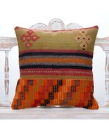 "Vintage Embroidered Kilim Pillow Cover 20x20"" Ethnic Decor Throw Pillowcase - $49.40"