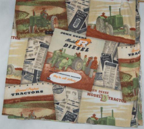 John Deer Vintage Pages Fleece Fabric One Yard Hundred Percent Polyester