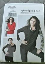 Pattern Vogue Designer Top Fitted Pullover Katherine Tilton V8793 Uncut - $14.35