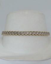 LADIES 10K YELLOW WHITE GOLD TWO TONE 1/4ct DIAMOND LINK TENNIS BRACELET... - $513.60