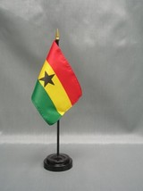 "Ghana 4X6"" Table Top Flag W/ Base New Desk Top Handheld Stick Flag - $4.95"
