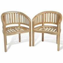 vidaXL 2x Teak Wood Chair Banana Shape Seating Wooden Garden Furniture P... - €201,98 EUR