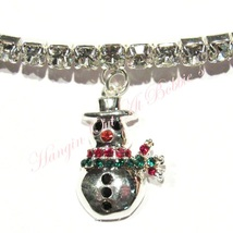 Anklet Snowman Clear Crystal Christmas Charm Dangle Stretch 9 Inch Silvertone - $21.99