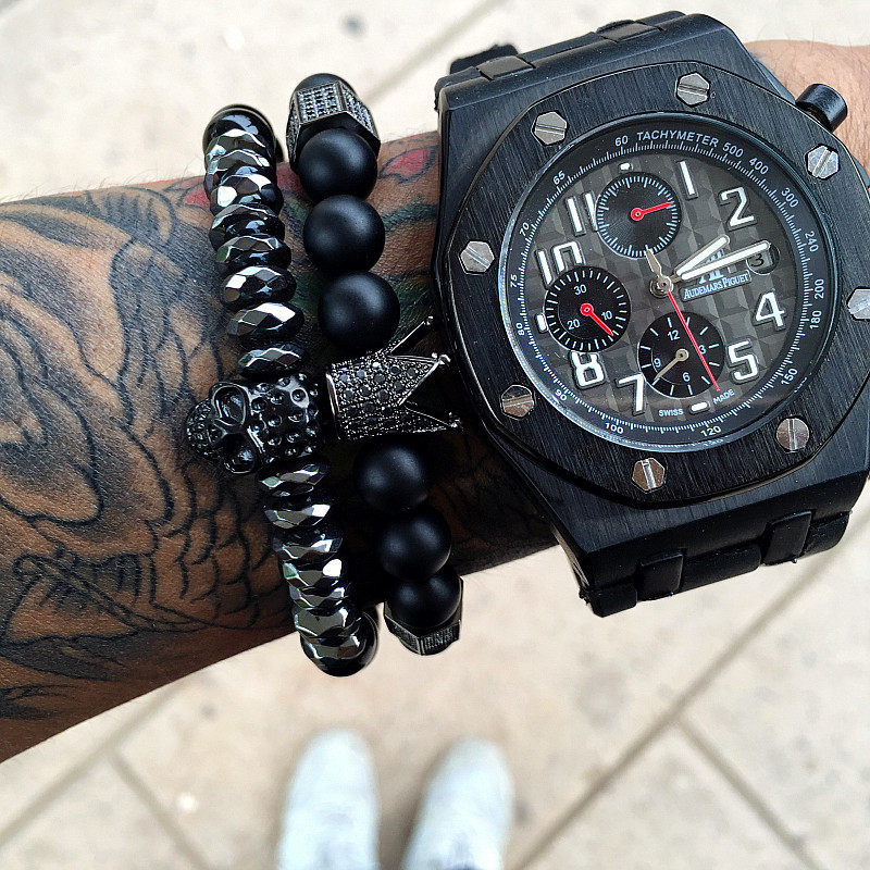 Hot Black Titanium Steel Skull Bracelet Men 8mm Onyx Natural Stone Beads