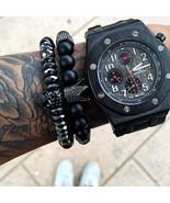 titanium steel skull bracelet men 8mm onyx natural stone beads skull charm bracelet 1 thumbtall