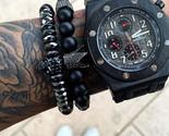 Anium steel skull bracelet men 8mm onyx natural stone beads skull charm bracelet 1 thumb155 crop