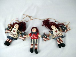 Boy Girl Rag Doll Fourth 4th of July Americana Hanging Banner God Bless... - €11,01 EUR
