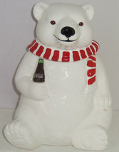 1994 Coca Cola Coke Polar Bear Cookie Jar Ceramic Vintage  - $99.95