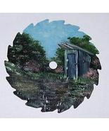 Collectible Mini Round Painted Sawblade Spring Outhouse Right Magnet Order - $12.50