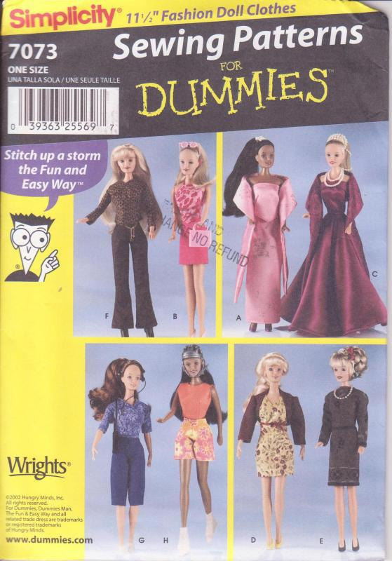 Simplicity 7073 Sewing for Dummies Doll Clothes Pattern Wardrobe for 11.5 Inches