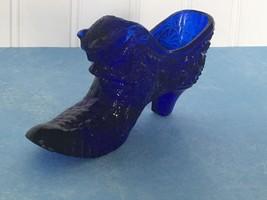 Vintage Fenton Colbalt Blue Daisy & Button Pattern Glass Victorian Cat Face Shoe - $10.84