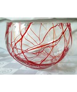 Hand Blown Glass Red Spaghetti Drizzle Bowl Cut Polished Rim Great Textu... - $46.50