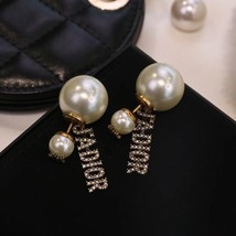 AUTH Christian Dior 2020 GOLD CRYSTAL J'ADIOR DANGLE STAR PEARL EARRINGS  image 8