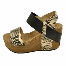 Pierre Dumas Hester-1 Beige Combo Women's Platform Wedge Sandal 22608 - $38.95