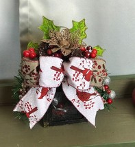 Rustic Christmas Small Lantern and Swag - $35.50