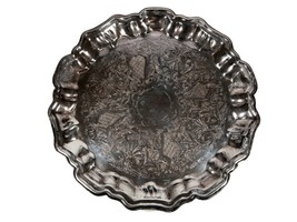FREE SHIP: Vintage Large Silverplate Tray - Leonard Round Scallop Edge F... - $49.09