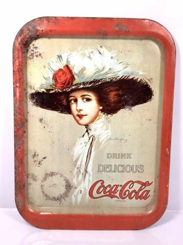 "Primary image for Vintage Coca Cola Girl Metal Serving Tray - Hamilton King 15"" x 11"""