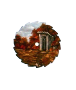 Mini Round Fall Painted Sawblade Outhouse Right Custom Order Collectible - $12.50