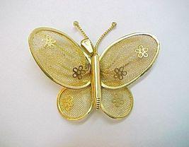 Vintage Goldtone Fine Mesh Butterfly Pendant Embellished with Flowers - $6.99