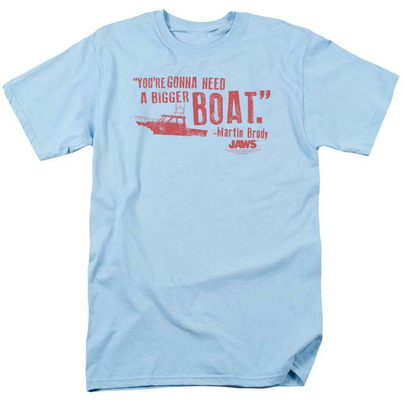 Jaws Bigger Boat T-shirt Free Shipping retro 70's 80's movie cotton tee UNI273