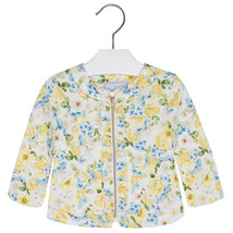 Mayoral Baby Girls Zip Front Floral Print Knit Jacket