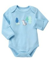 GYMBOREE NWT Boys Newborn Essentials Long Sleeve Scenic Wolf Bodysuit 0-... - $12.86