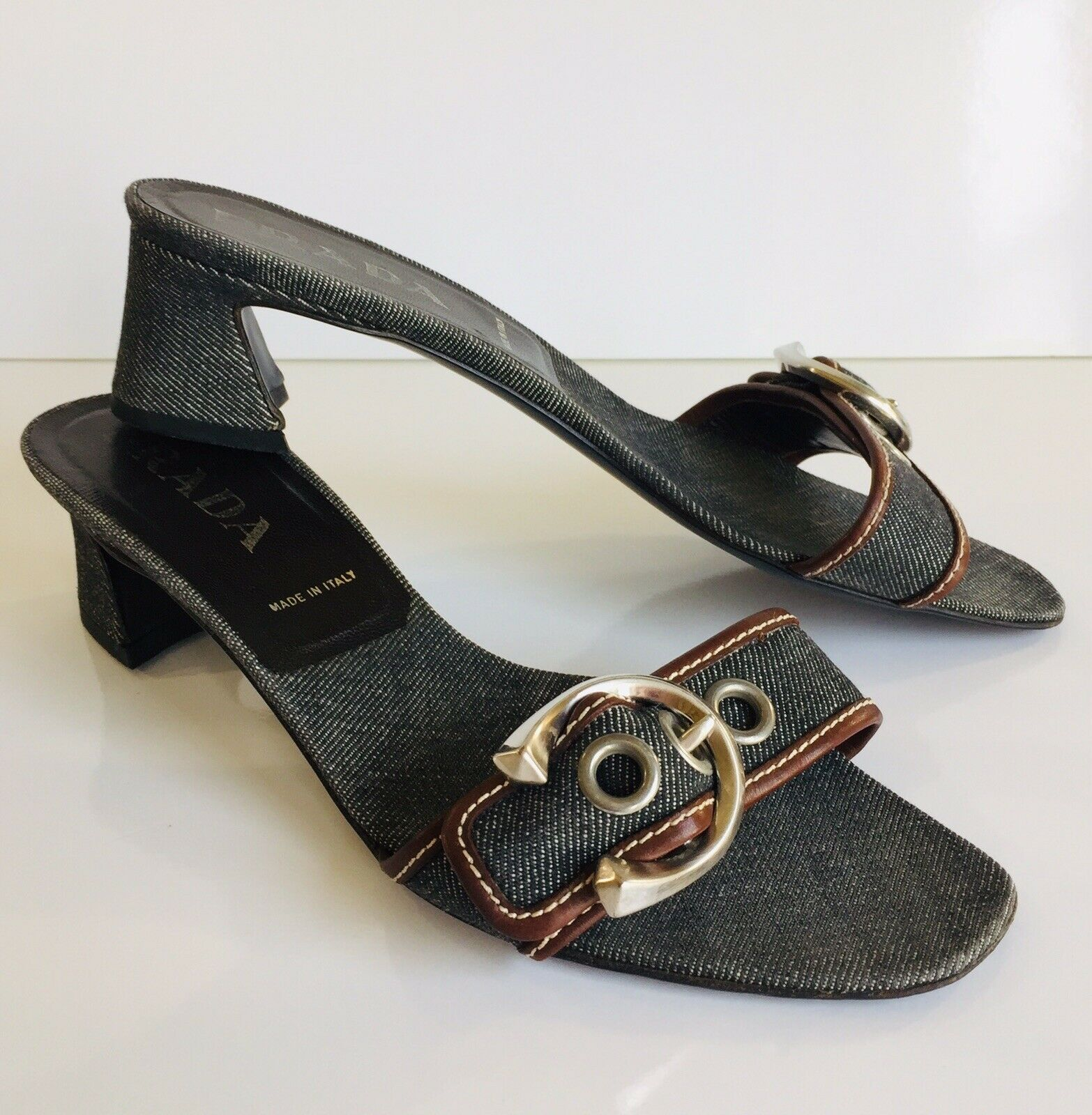 Amazing Prada Dark Wash Denim Sandals Size IT 38.5 US 8.5 M  Mid Cuban Heel