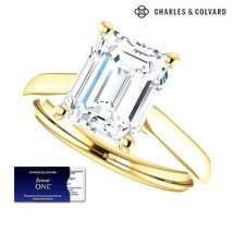 3.50 Carat Emerald Cut Forever One Moissanite Ring  in 14k Gold(Charles&... - $2,200.00