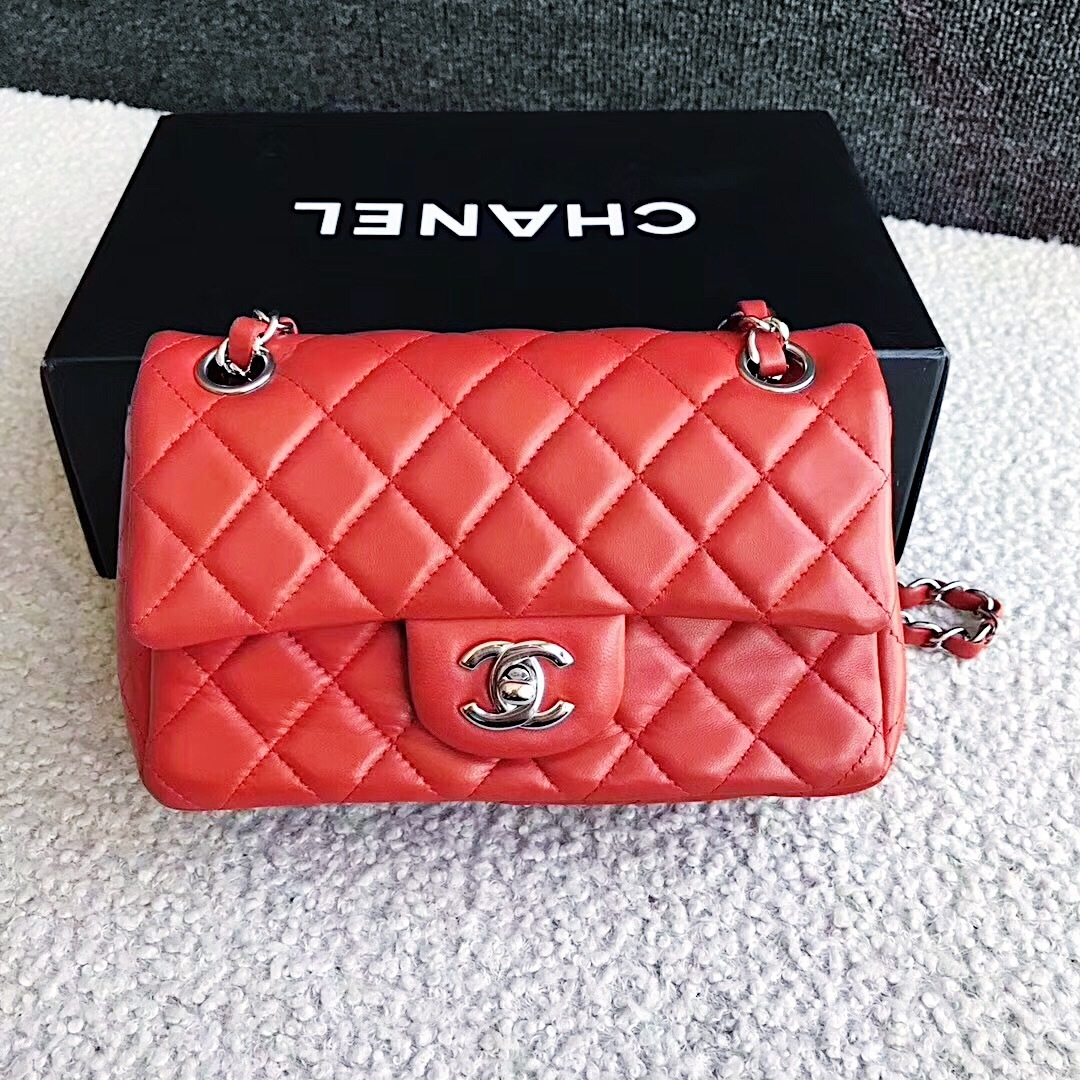 b40da7c704a0 AUTHENTIC CHANEL RED QUILTED LAMBSKIN LARGE RECTANGULAR MINI CLASSIC ...