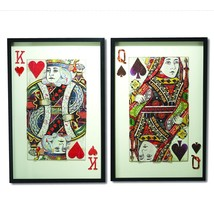 Two's Company Play Your Cards Right Set of 2 Playing Card Paper Collage ... - $464.31