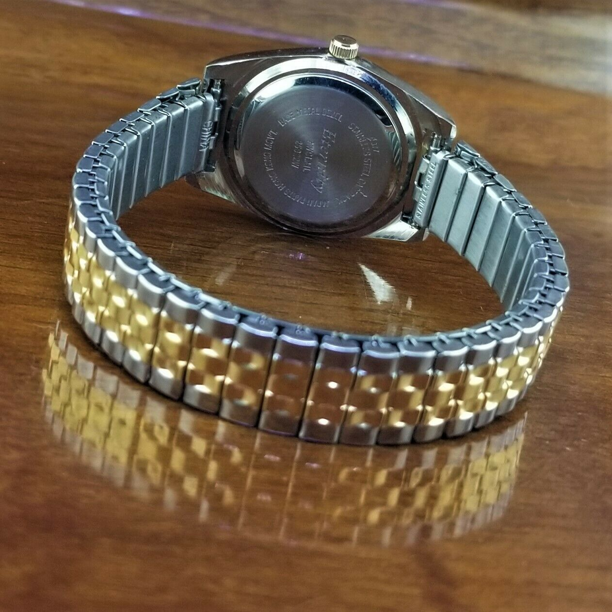 New Vintage Womens ETERNITY Gold & Silver TN Jubilee Stretch Band Watch image 3