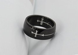 Titanium Ring w/Cross Charm - One Item w/Random Color and Design (silver-plat... image 3