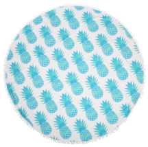 Skyblue Round Pineapple Tapestry Outdoor Beach Towel Picnic Blanket - $246,99 MXN