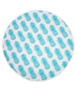 Skyblue Round Pineapple Tapestry Outdoor Beach Towel Picnic Blanket - $12.99
