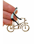 "2"" Wide Blue Polka Dot Shirt Cyclist Enameled Brooch Pin C Clasp Gift - $12.56"