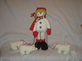 Plush Christmas Snowman with Scarf & 3 White Polar Bears On Leash - $9.46