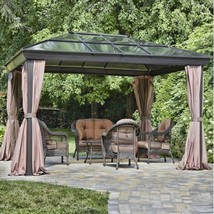 Luxury Outdoor Gazebo Metal Patio Polycarbonate Panels Huge 12x16ft BBQ ... - $2,974.11