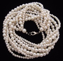 Lovely Vintage Small Bead White Faux Pearl Multi Stranded Necklace*Y283 - $22.72