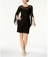 CONNECTED APPAREL Black Knee Length Split Sleeve Lace/Chiffon Sheath Dre... - $33.60