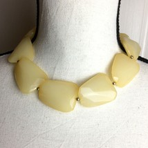 Vintage Celluloid Cream Color Faceted Bead Statement Choker Necklace - $19.80