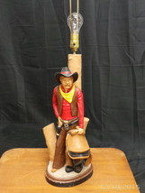 Apsit Bros Of California 1981 Chalkware Table Lamp Cowboy Saddle Gun Sou... - $138.11