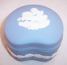 Wedgwood Blue Jasperware Kidney Shaped Trinket Box, Mint Condition! - $18.99
