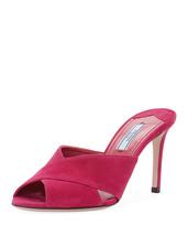 Prada Suede Crisscross Slide Sandal, Pink MSRP $620.00 Mult Sz - $399.00